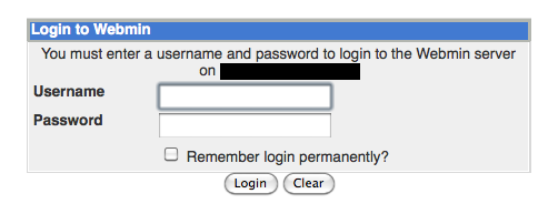 Webmin Login Window